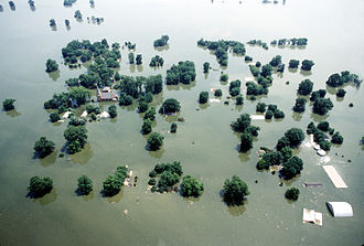 100-year flood - Mississippi River at Kaskaskia, Illinois during the Great Flood of 1993.