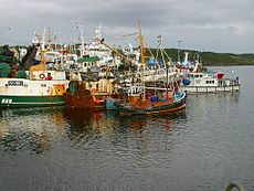 Trawlers sit in killybegs harbour in county donegal one of ireland