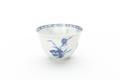 Kinesisk kopp av tunt vitt porslin med blå underglasyrmålning, från 1662-1722 - Skoklosters slott - 93530.tif