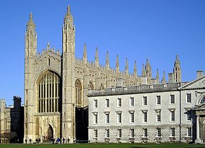 King's College Chapel, Cambridge - King's College Chapel (partially obscured by the Gibbs' Building), seen from The Backs.
