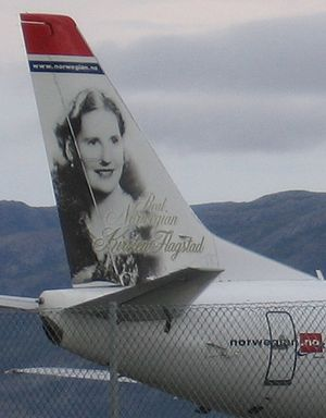 wizerunek Kirsten Flagstad na stateczniku samolotu