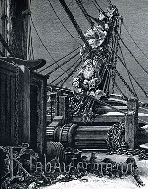 Sailors' superstitions - A Klabautermann on a ship, from Buch Zur See, 1885.
