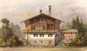 Swiss chalet style - Schweizerhaus in Klein Glienicke near Berlin, designed by Ferdinand von Arnim, 1867