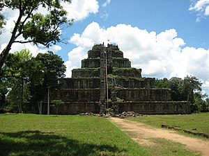 Koh Ker - View of the seven tiered pyramid at Koh Ker