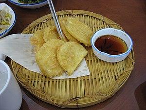 Fried sweet potato - Image: Korean.cuisine Goguma twigim 01