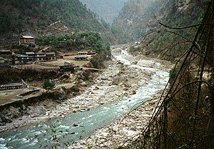 Koshi River - Dudh Koshi, one of the seven Himalayan tributaries of Koshi river