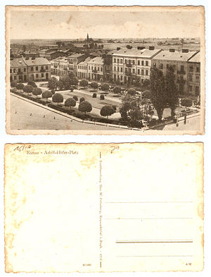 Kutno - Central City square Adolf Hitler Platz – German postcard from Kutno II World War times. Nowadays Marshall J.Piłsudski square