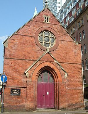 French Protestant Church, Brighton - Main entrance and rose window, on the south side.