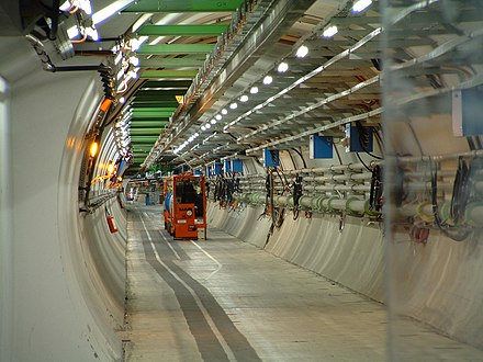 The LHC tunnel. CERN is the world's largest laboratory and also the birthplace of the World Wide Web. LHC, CERN.jpg
