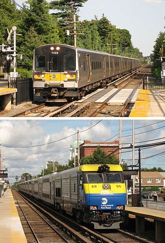 Commuter rail - The Long Island Rail Road operates electric and diesel service into New York City along with Metro-North Railroad and NJ Transit Rail.