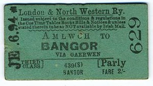 Anglesey Central Railway - LNWR ticket for travel to Bangor, a nearby hub on the railway network