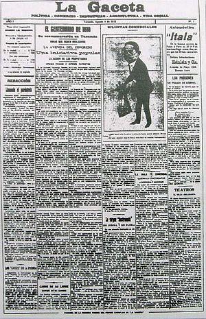 La Gaceta (Tucumán) - La Gaceta's first frontpage (August 4, 1912)