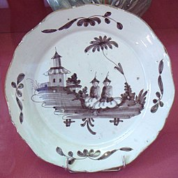La Rochelle Faience de grand feu with Chinese manganese motif 18th century.jpg