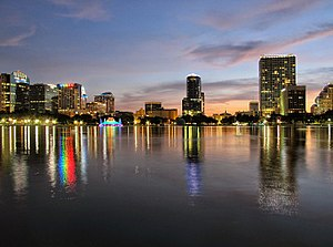 Downtown Orlando - Downtown Orlando skyline as seen from Lake Eola facing west