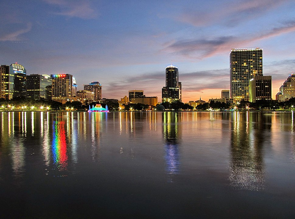 Downtown Orlando skyline as seen from Lake Eola facing west
