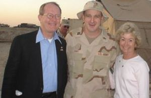 Lamar Alexander - Senator and Mrs. Alexander with the Presbyterian Chaplain of the 844th from Rhea County in 2005.