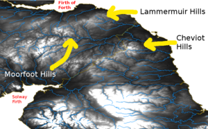 Moorfoot Hills - Relief map showing the Lammermuir, Moorfoot, and Cheviot Hills.
