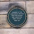 Lancaster first station plaque.JPG