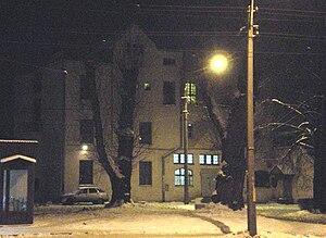 Lanskaya railway station - Image: Lanskaya station house Kind through road image framing