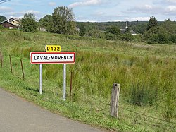 Laval-Morency (Ardennes) city limit sign.JPG