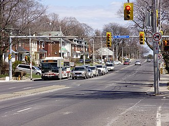 Lawrence Avenue - Westbound traffic waits for a green light at the intersection of Lawrence Avenue East and Mt. Pleasant Road