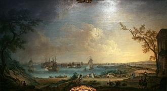 Battle of Minorca (1756) - Image: Le Départ de la flotte française pour l'expédition de Port Mahon dans l'île de Minorque le 10 avril 1756 Nicolas Ozanne mg 8243