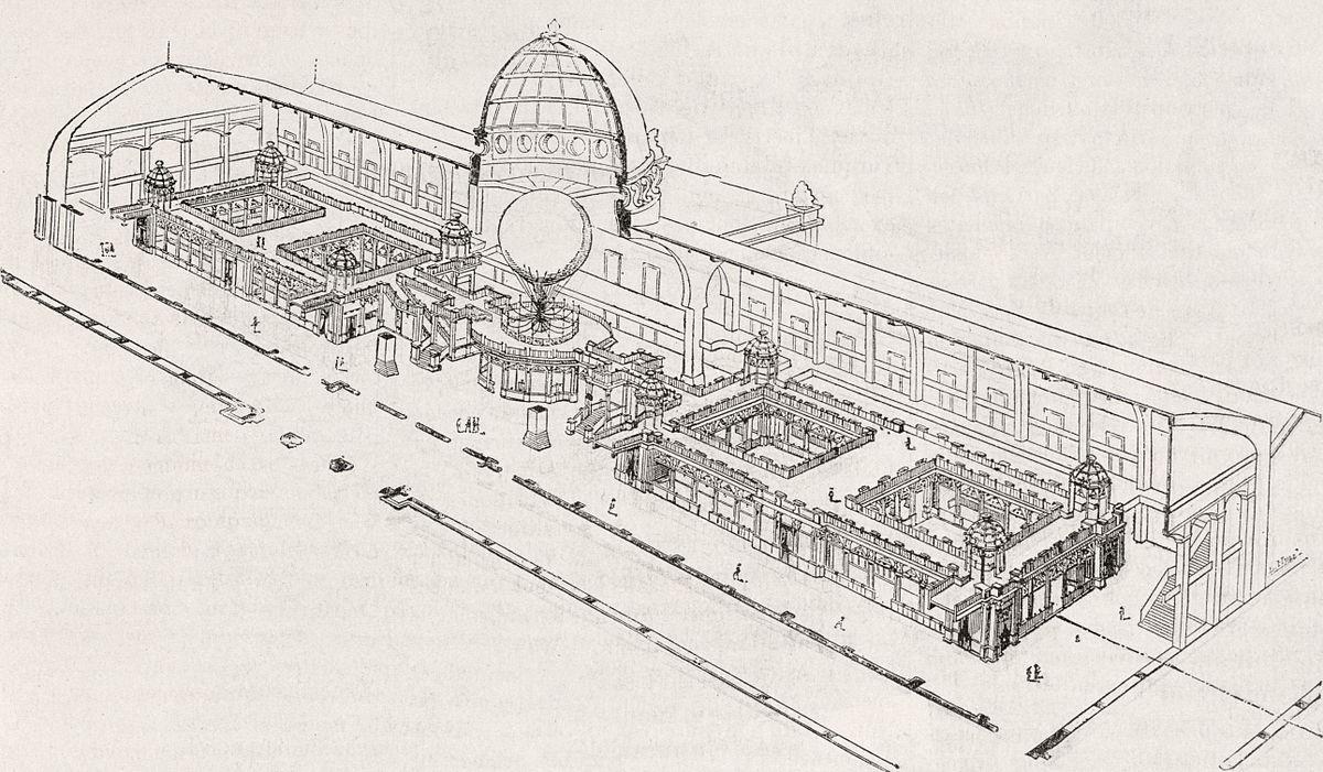 Le Palais des arts libéraux, Vue en perspective de l'ensemble des galeries.jpg