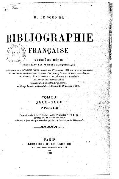 File:Le Soudier - Bibliographie française, 2e série, t. 2, 2e partie, 1911.djvu