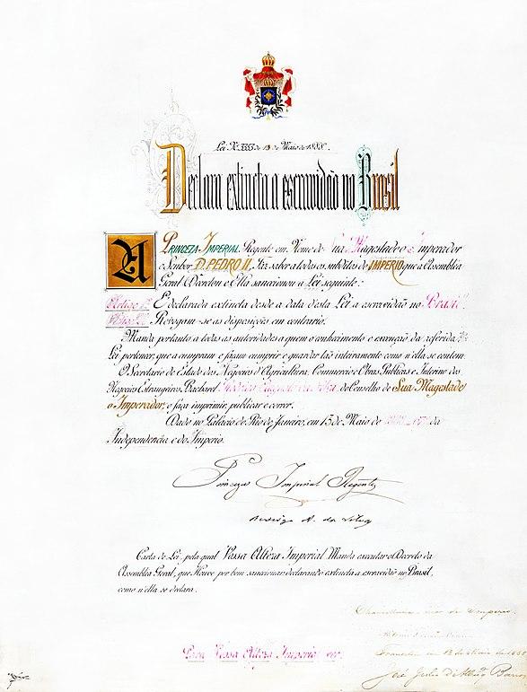 """Lei Imperial n.º 3.353 (a """"Lei Áurea""""), sancionada em 13 de maio de 1888, que extinguiu oficialmente a escravidão no Brasil. Foto: Wikimedia"""