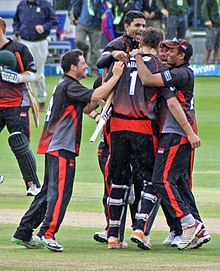 Razzaq Celebrating Leicestershire Winning The Semi Final Of 2011 Friends Life T20 Team Went On To Win Competition