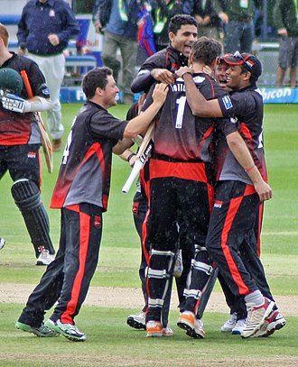 Abdul Razzaq (cricketer) - Razzaq celebrating Leicestershire winning the semi-final of the 2011 Friends Life t20. The team went on to win the competition.