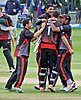 Leicestershire celebrating a victory
