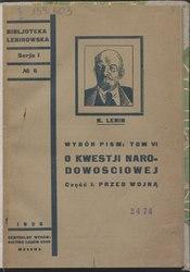 Vladimir Lenin: O kwestji narodowościowej