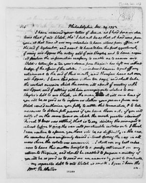 Benjamin Waller - Letter from Thomas Jefferson to Benjamin Waller, 1793. Library of Congress