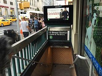 23rd Street (IRT Lexington Avenue Line) - Image: Lex 23rd St NB Entrance