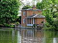 Lilypond Cottage fishing lodge and lake at Matching, Essex, England 01.jpg