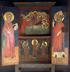 Liturgical cabinet with the Holy Burial, Saint Agnes and a Bishop Saint