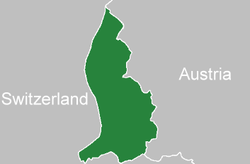 Location of  Liechtenstein  (green)in between Switzerland and Austria  (grey)