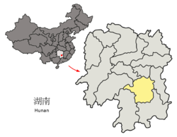 Location of Hengyang City jurisdiction in Hunan