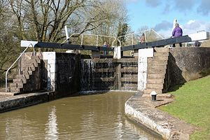 Lock (water navigation) - A gate in the Hatton flight in England