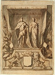 Design for a throne of honour depicting the Duke of Monterey and a female allegorical figure