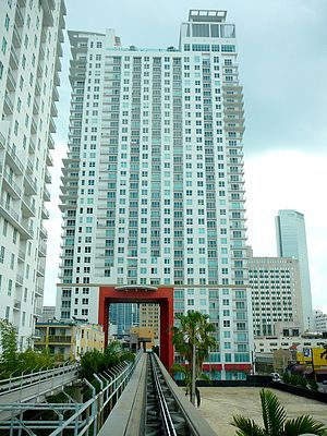 The Loft 2 - The Loft 2, one of the buildings that the Miami Metromover tunnels through