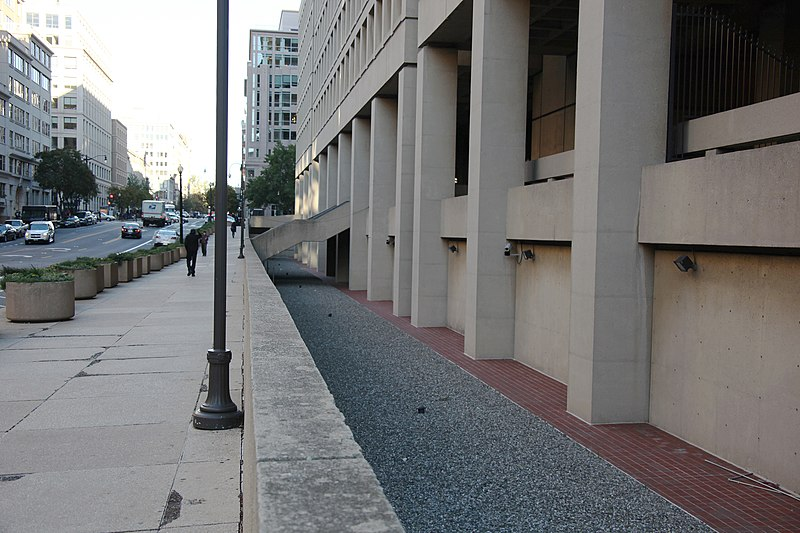 Looking east at dry moat along E Street NW - J Edgar Hoover Building - Washington DC - 2012.jpg