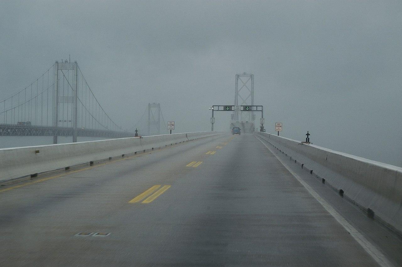 File Looking Up Chesapeake Bay Bridge During Isabel Sept