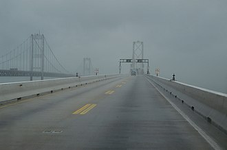 Chesapeake Bay Bridge - The Bay Bridge during 2003's Hurricane Isabel.