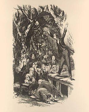 Lorenzo Dow - Lorenzo Dow preaching, engraving by Lossing-Barrett, 1856