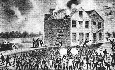 Wood engraving of proslavery riot in Alton, Illinois on 7 November 1837, which resulted in the murder of abolitionist Elijah Parish Lovejoy (1802–1837). Lovejoyat1837AltonIllinoisRiot.JPG
