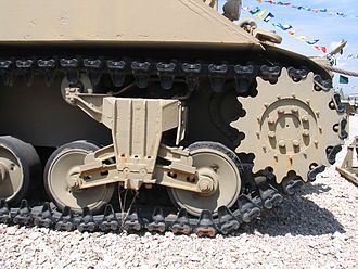 Vertical volute spring suspension - The VVSS system of an M32 Tank Recovery Vehicle (ARV) on display at the Yad La-Shiryon military museum in Latrun in Israel.