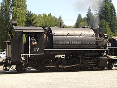 Hammond Lumber Company No. 17 under steam in the summer of 2004
