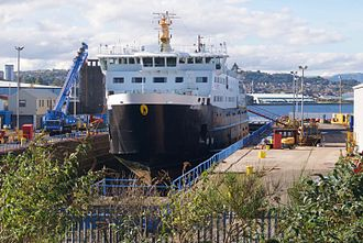 MV Hebrides - On 1 October 2016 Hebrides was taken into the Garvel dry dock, Greenock, for inspection and repairs.
